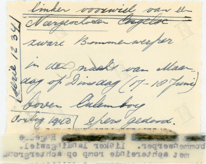 Naam: Foto 119a. 1940-06:17-18. N 1463 (L-GE). Tekst AZ: Linker voorwiel van de neergeschoten Engelse .jpg Bekeken: 396 Grootte: 455,7 KB