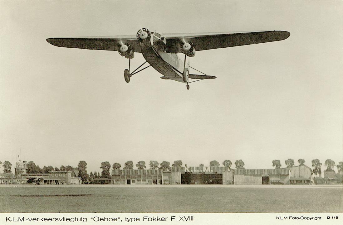 Naam: Kaart 770. PH-AIO 'Oehoe%22. Fokker F.XVIII. 1100 breed.jpg Bekeken: 361 Grootte: 81,0 KB