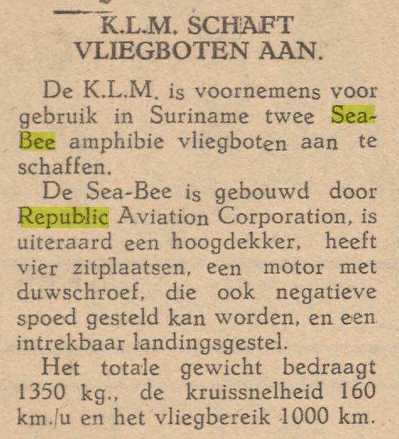 Naam: 19461231 Amigo di Curacao - KLM aanschaf 2 Republic Sea-Bee.jpg Bekeken: 92 Grootte: 59,9 KB
