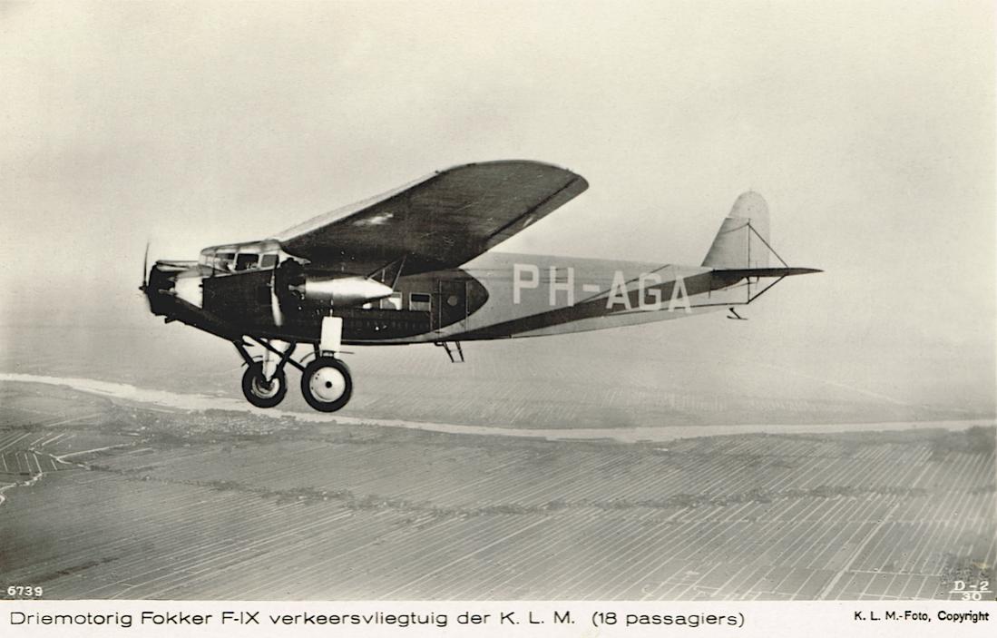 Naam: Kaart 795. PH-AGA 'Adelaar'. Fokker F.IX. 1100 breed.jpg Bekeken: 139 Grootte: 84,4 KB