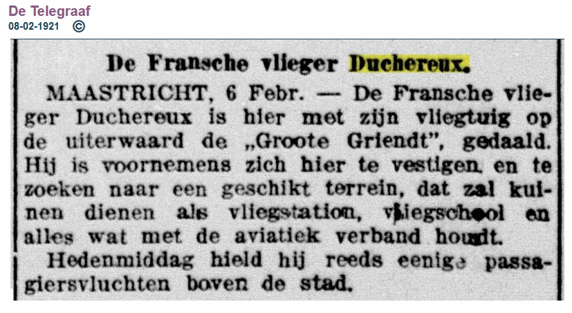 Naam: 1921-02-08 Duchereux Maastricht eerste passagiers.jpg Bekeken: 126 Grootte: 155,1 KB