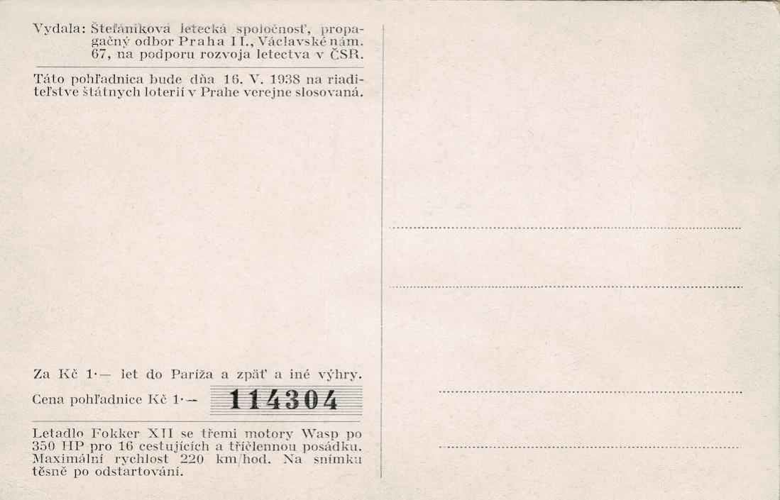 Naam: Kaart 825a. Fokker XII - Diese Lotteriepostkarte wurde 1938 in der Tschechoslowakei ausgestellt,.jpg Bekeken: 137 Grootte: 88,0 KB