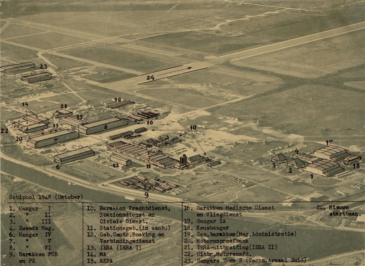 Naam: Afb. 3. Luchtfoto Schiphol oktober 1948 met overlay, kopie.jpg Bekeken: 756 Grootte: 197,1 KB