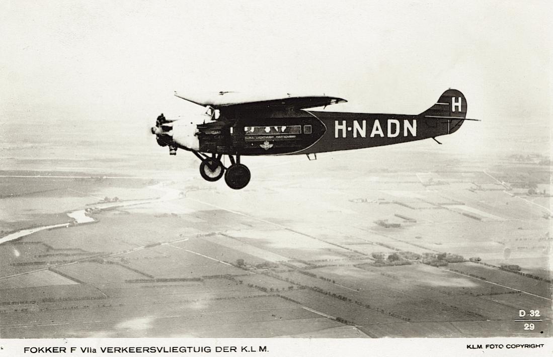 Naam: Kaart 755. H-NADN (PH-ADN. Fokker F.VIIa. 1100 breed.jpg Bekeken: 217 Grootte: 89,6 KB