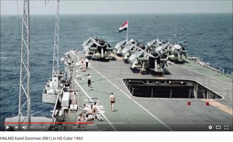 Naam: Screenshot_2018-09-21 HNLMS Karel Doorman (R81) in HD Color 1963 - YouTube.jpg Bekeken: 140 Grootte: 53,6 KB