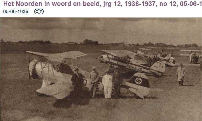 Naam: 1936-06-02 D-ETIS Focke Wulf Fw44 D voor de Brunner Winkle Bird PH-AJS op Eelde 01.jpg Bekeken: 95 Grootte: 112,5 KB