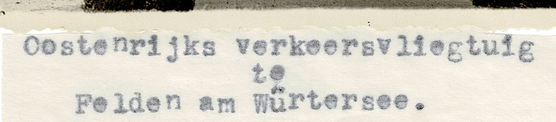 Naam: Foto 6a (uitsnede). Op dun papiertje 'Oostenrijks verkeersvliegtuig te Felden am Würtersee. De .jpeg Bekeken: 1297 Grootte: 368,6 KB