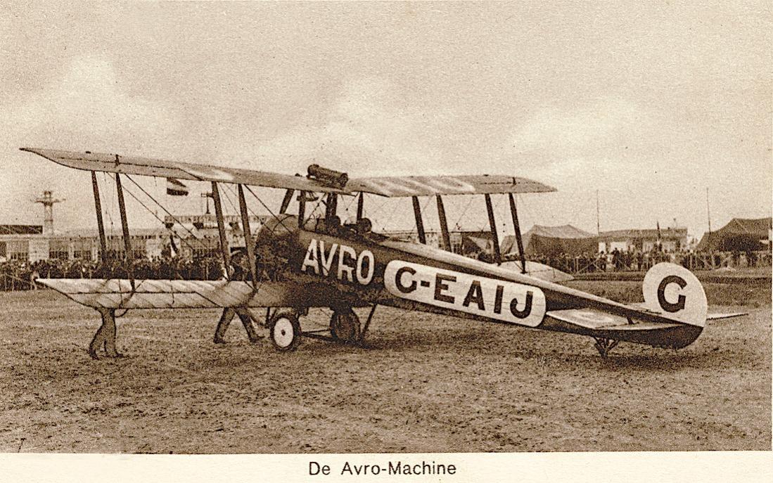Naam: Kaart 848. ELTA 1919. De Avro-Machine. (G-EAIJ. Avro 504K). 1100 breed.jpg Bekeken: 361 Grootte: 175,7 KB