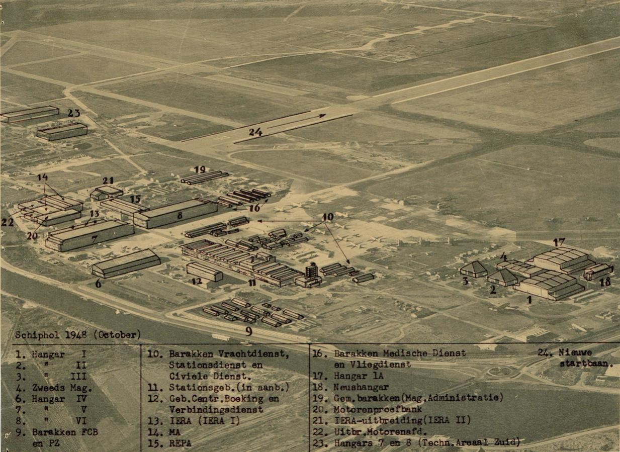 Naam: Afb. 3. Luchtfoto Schiphol oktober 1948 met overlay, kopie.jpg Bekeken: 598 Grootte: 197,1 KB